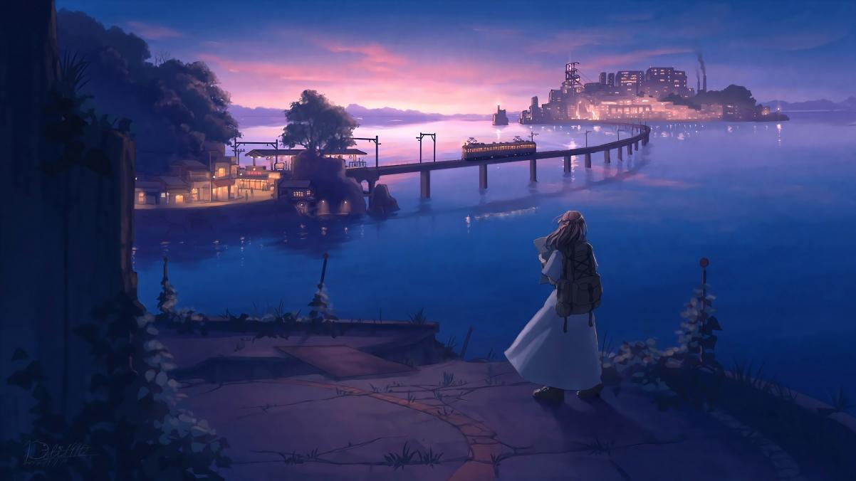 少女 旅途 街景风景 夜景 黄昏 唯美4k动漫高清壁纸极品游戏桌面精选
