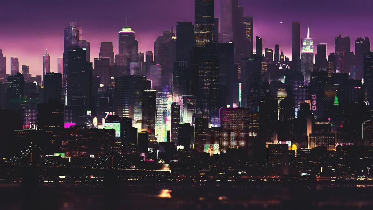 夜晚 艺术 未来派城市插画4k高清壁纸极品游戏桌面精选3840x2160