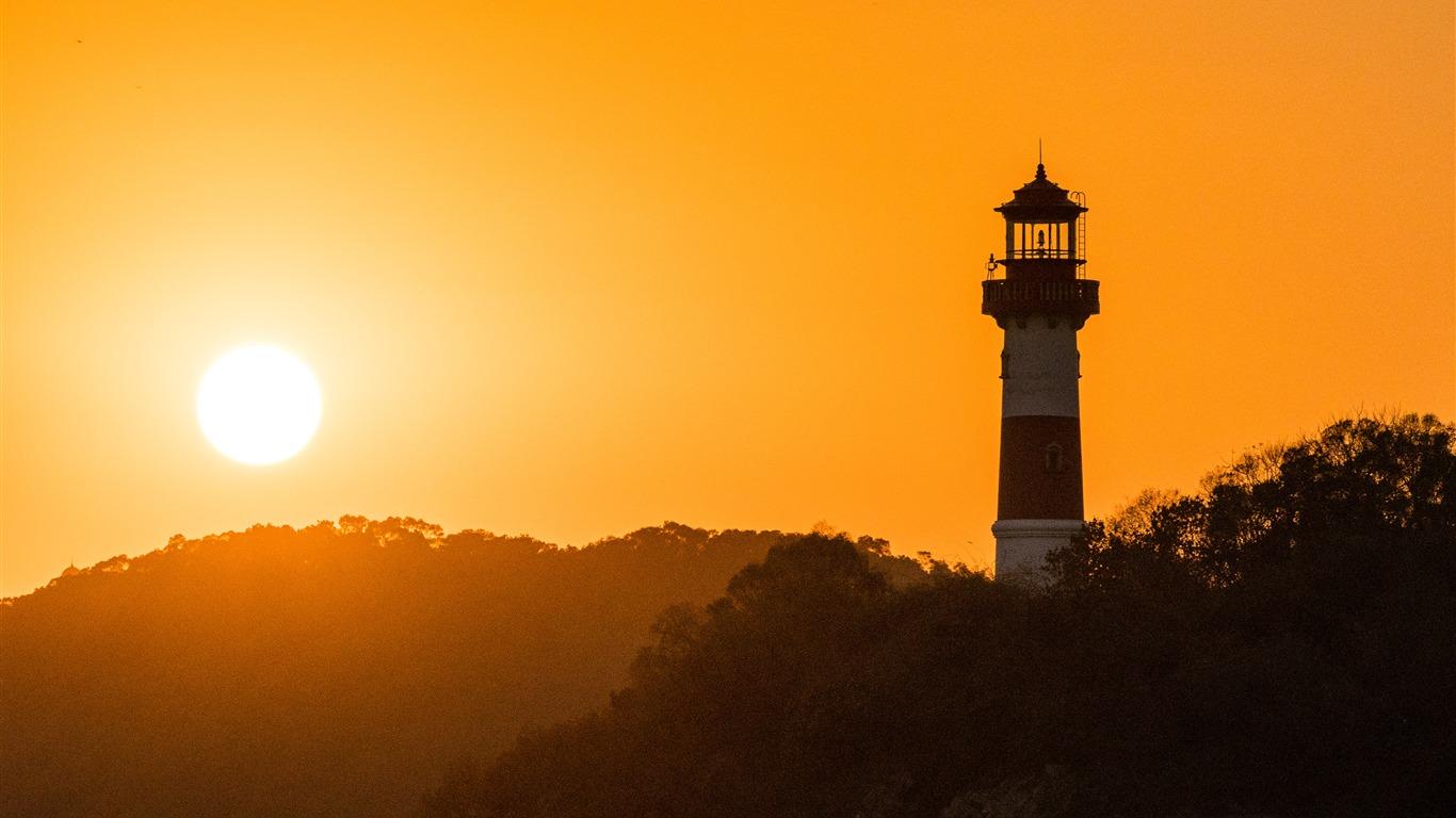 山,灯塔,日落,剪影,HD高端桌面精选 3840x2160