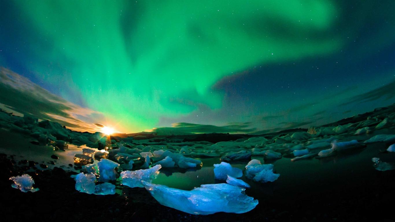 冰岛,冰川,北极光,日落,4K,超高清高端桌面精选 3840x2160