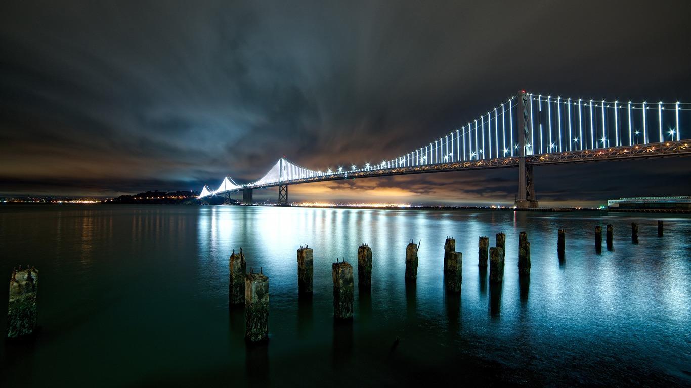 市,晚上,河,桥,景观高端桌面精选 3840x2160