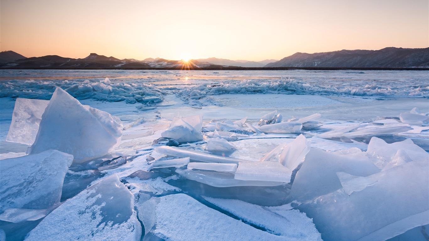 大陆冰川日落,2022,高清,自然,照片高端桌面精选 3840x2160