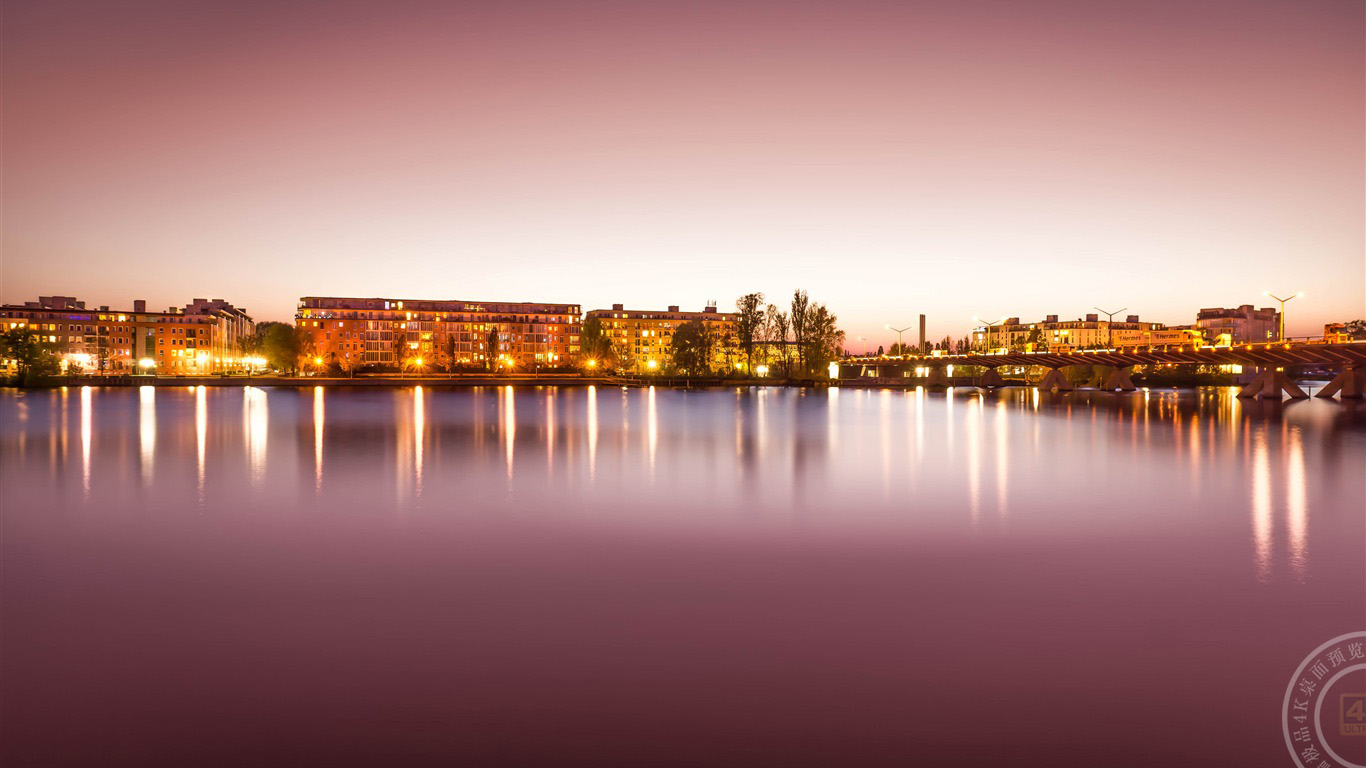 日落,建筑,城市,河流,天际线,摄影,4K,高清高端桌面精选 3840x2160