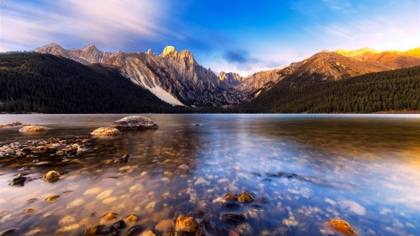 中国,西藏,措普沟,湖,雪山,日落高端桌面精选 3840x2160