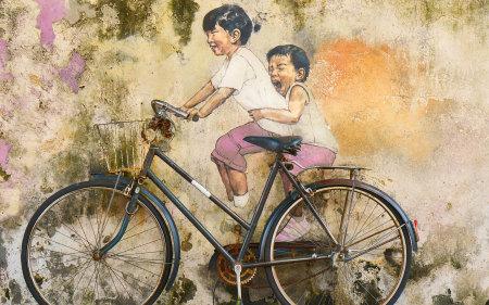 孩子们骑自行车涂鸦艺术极品游戏桌面精选4K+高清壁纸