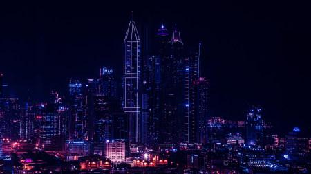 城市建筑灯光夜景高端桌面4K+高清壁纸图片