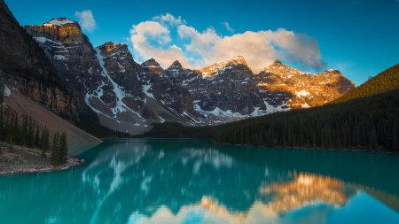 加拿大班夫国家公园梦莲湖日出高端桌面4K+高清壁纸图片