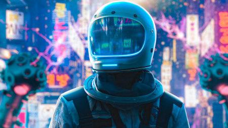 霓虹城的宇航员极品游戏桌面精选4K+高清壁纸