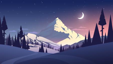 夜晚的山上插画极品游戏桌面精选4K+高清壁纸