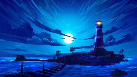 蓝色夜空下的灯塔插画极品游戏桌面精选4K+高清壁纸