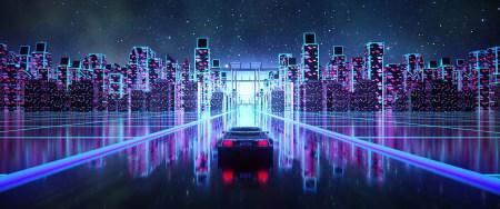 赛博朋克城市行驶的汽车极品游戏桌面精选4K+高清壁纸