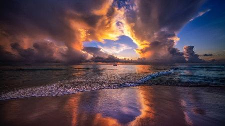 加勒比海上日落高端桌面4K+高清壁纸图片