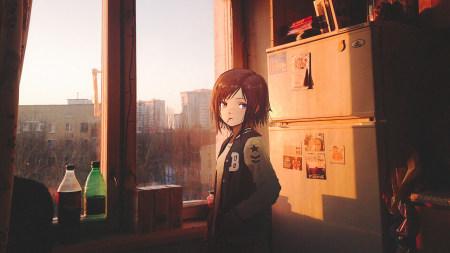 窗前的动漫女孩高端桌面4K+高清壁纸图片