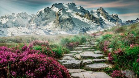 春天的雪山风景高端桌面4K+高清壁纸图片
