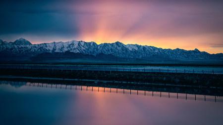 湖泊 雪山 日落高端桌面4K+高清壁纸图片