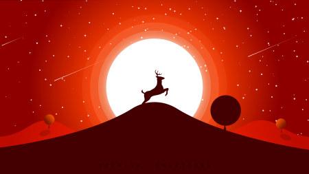山顶的小鹿 日落插画极品游戏桌面精选4K+高清壁纸