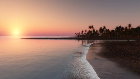 唯美海滩日落风景百变桌面精选高清壁纸