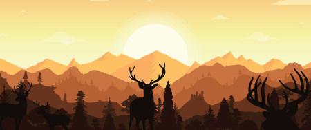 日落山上的小鹿插画极品游戏桌面精选4K+高清壁纸