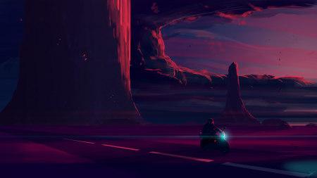 黑夜中骑行插画极品游戏桌面精选4K+高清壁纸