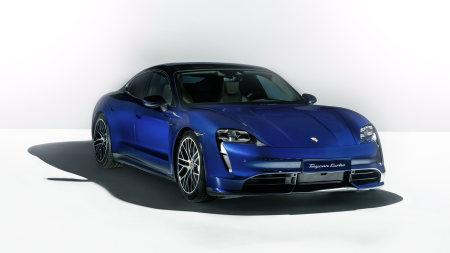 蓝色保时捷Taycan Turbo纯电动跑车高端桌面4K+高清壁纸图片