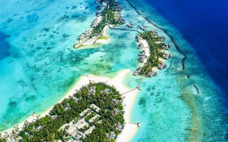 海滩群岛鸟瞰图高端桌面4K+高清壁纸图片