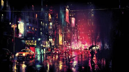 城市夜景手绘插画极品游戏桌面精选4K+高清壁纸