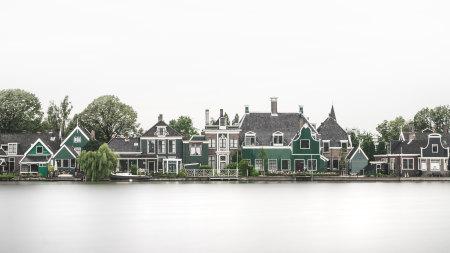 荷兰湖边居民房屋建筑渲染图高端桌面4K+高清壁纸图片