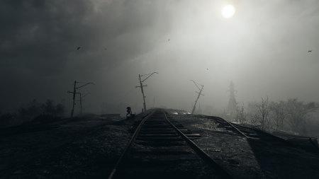 昏暗中的铁轨高端桌面4K+高清壁纸图片