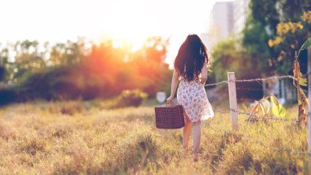 提着箱子走过草丛的美女极品壁纸推荐高清壁纸