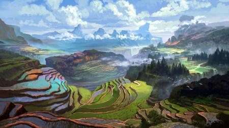 美丽的梯田风景插画极品游戏桌面精选4K+高清壁纸