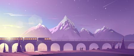 行驶的火车插画极品游戏桌面精选4K+高清壁纸