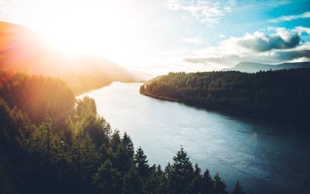 河畔两旁茂密的森林极品壁纸推荐高清壁纸