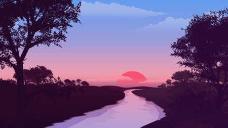 日出 河流 树木 插画极品游戏桌面精选4K+高清壁纸