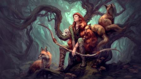 女弓箭射手和狐狸插画艺术极品游戏桌面精选4K+高清壁纸