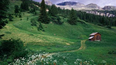 绿色山坡下的小木屋高端桌面4K+高清壁纸图片