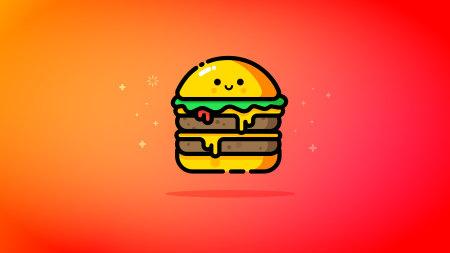 可爱的双层芝士汉堡包插画极品游戏桌面精选4K+高清壁纸