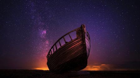 星空下的木船极品壁纸推荐高清壁纸