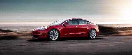 红色特斯拉Model 3电动汽车百变桌面精选高清壁纸