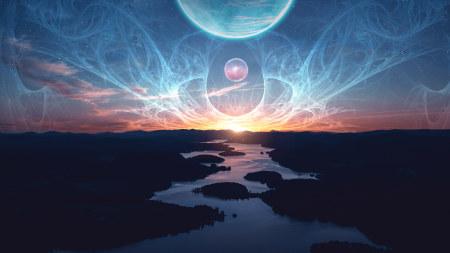 日落河流风景高端桌面4K+高清壁纸图片