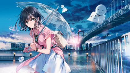 打伞的动漫女孩极品游戏桌面精选4K+高清壁纸