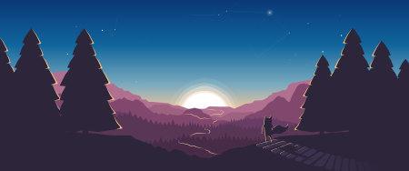 看日出的小动物插画极品游戏桌面精选4K+高清壁纸