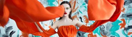 美女橙色长裙艺术写真高端桌面4K+高清壁纸图片
