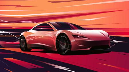 特斯拉Roadster电动跑车插画极品游戏桌面精选4K+高清壁纸