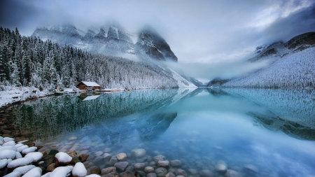 加拿大班夫国家公园梦莲湖冬天雪景高端桌面4K+高清壁纸图片