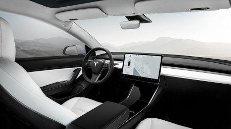 白色特斯拉Model 3电动汽车驾驶室高端桌面4K+高清壁纸图片