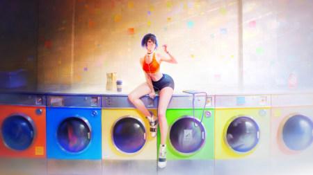 洗衣机房的性感动漫女孩极品游戏桌面精选4K+高清壁纸