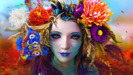 美女头戴鲜花插画极品游戏桌面精选4K+高清壁纸
