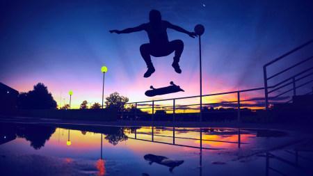 滑板者日落剪影极品游戏桌面精选4K+高清壁纸