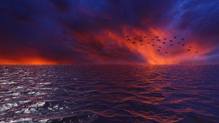 日落时的大海美景高端桌面4K+高清壁纸图片