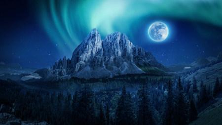 明月当空的山间夜景高端桌面4K+高清壁纸图片